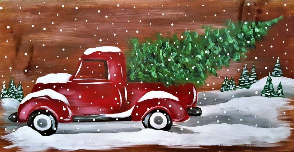 Board Art Vintage Christmas Truck 2 Pottery Factory Brookfield