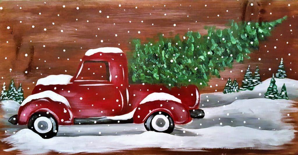 Board Art \u2013 Vintage Christmas Truck 2