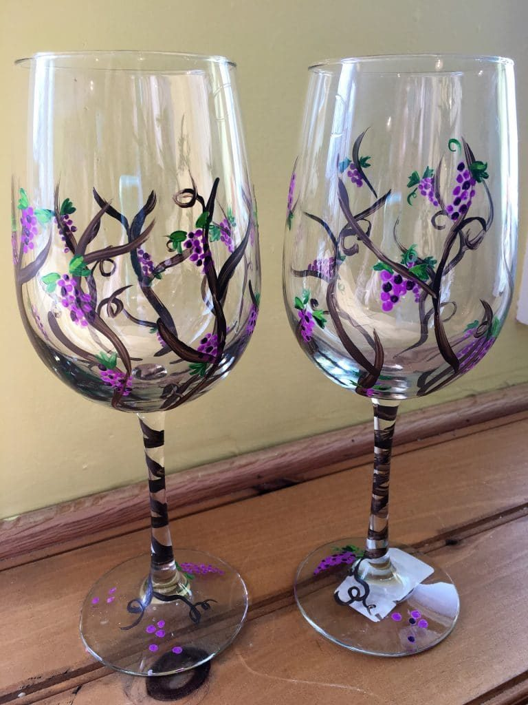 Melisa s private wine glass painting party the pottery for Wine paint party
